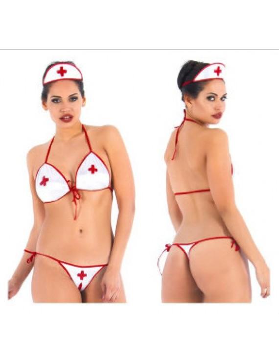 Genital Bölgesi Açık Seksi Hemşire Kostümü